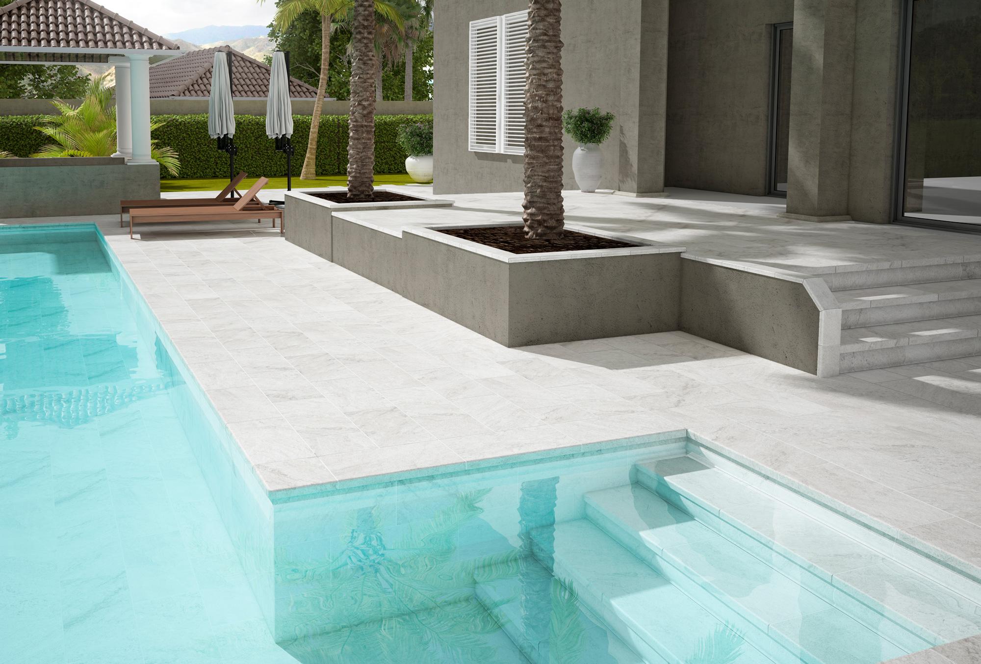 Revestimiento de gres porcelánico para piscina y patio