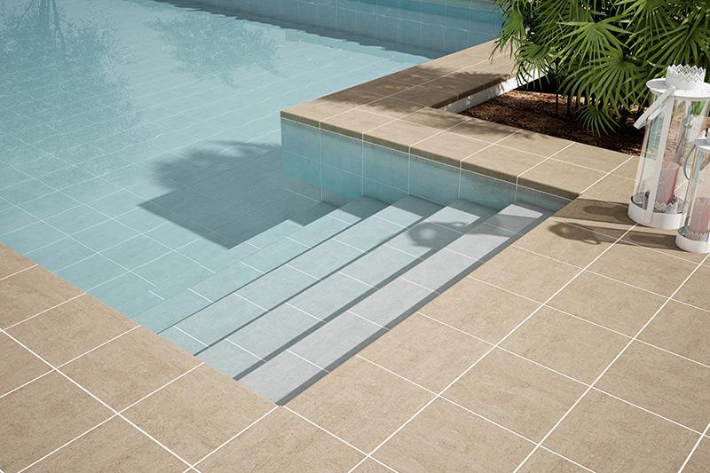 gres porcelanico piscina beige