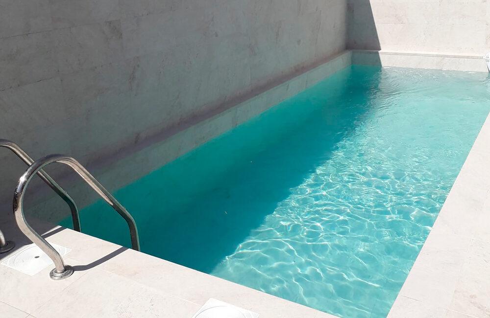 white stone single family pool