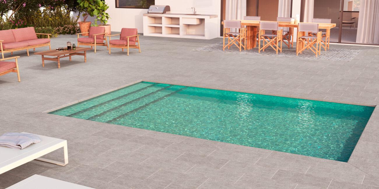 piscina residencial en modelo Grey, gres porcelánico